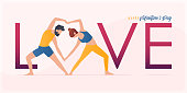 Happy Valentine's day  banner with couple yoga poses. Year of good health. Landing page design templates for Valentine's day decoration in partner yoga concept. Vector art and illustration.