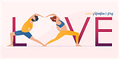 Happy Valentine's day  banner with couple yoga poses. Year of good health. Landing page design templates for Valentine's day decoration in partner yoga concept.