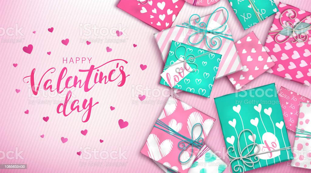 Happy Valentines Day Banner With Decoration Pink And Blue Gift Boxes