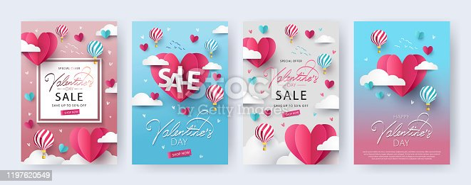 Happy Valentine's Day banners, posters, cards or flyers Set with flying Origami Hearts over clouds with air balloons in the sky.