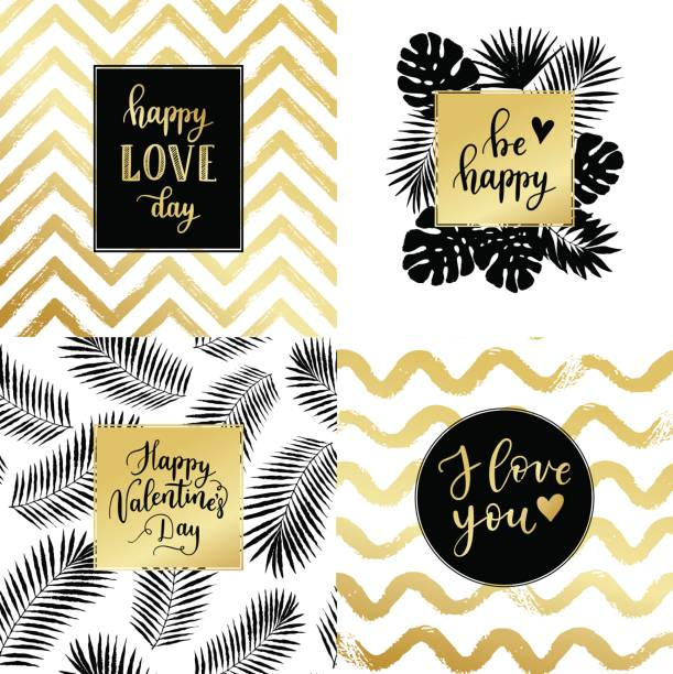 happy valentines day, be happy, i love you fashion typography posters, greeting cards set in black, gold and white. vector summer background with tropical palm tree leaves, strips. - summer fashion stock illustrations, clip art, cartoons, & icons