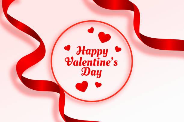 glücklich Valentinstag schöne Band und Herzen Hintergrund – Vektorgrafik
