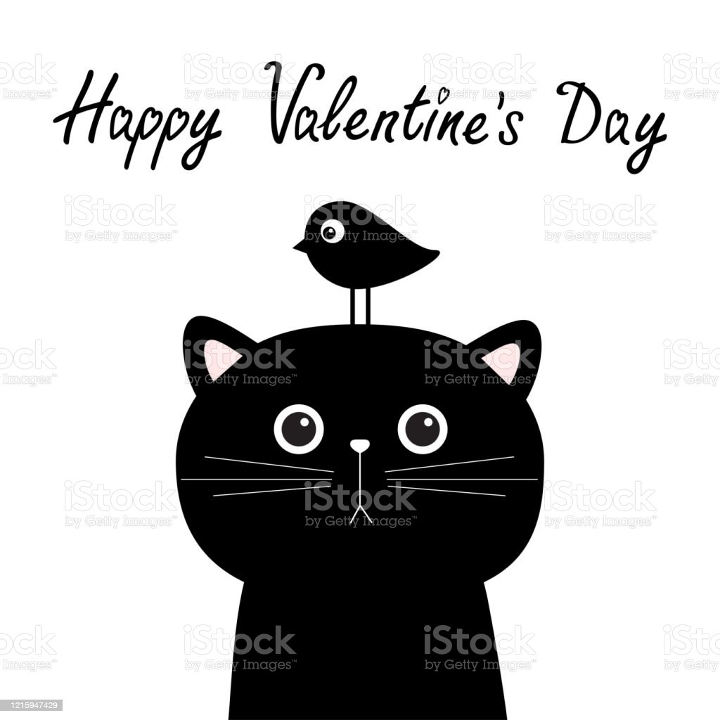 Happy Valentines Day Black Cat Face Head Silhouette And Bird Cute