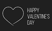 happy valentine's day, black greetings card with heart outline