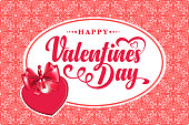 Happy Valentines Day calligraphic text on seamless background.
