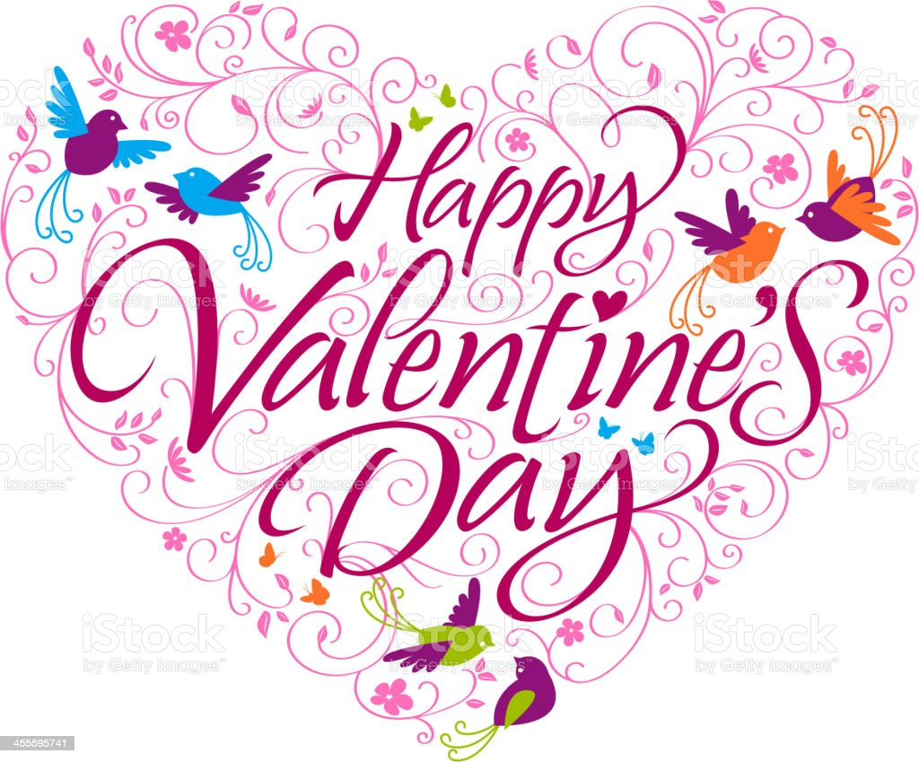 Happy Valentine's Day Calligraphy in Birds and Floral Heart Shape royalty-free stock vector art