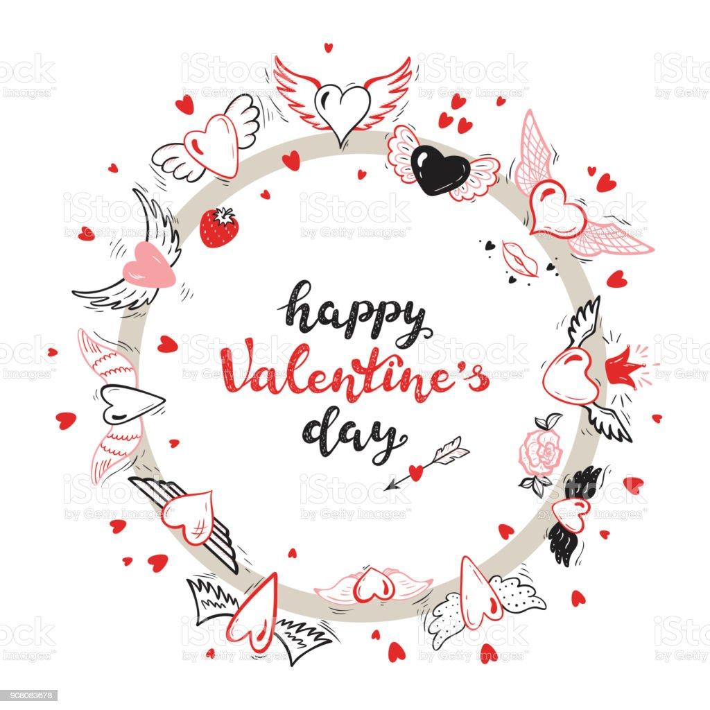 Happy Valentinstagkalligraphieschriftzug Runde Rahmen Herz Mit ...