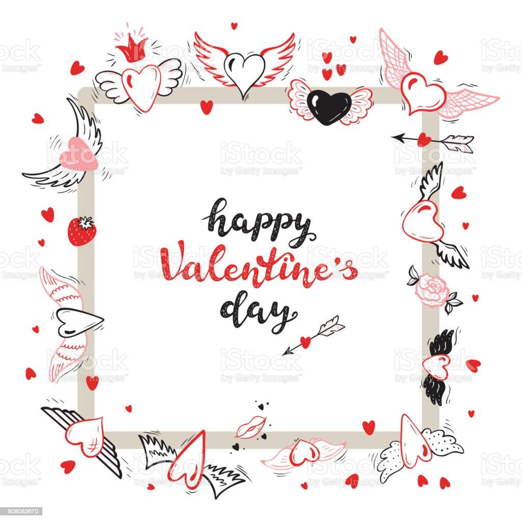 Happy Valentinstagkalligraphieschriftzug Quadratische Rahmen Von ...
