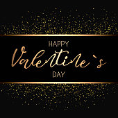 Happy Valentines Day card. Gold, glitter design. Vector illustration