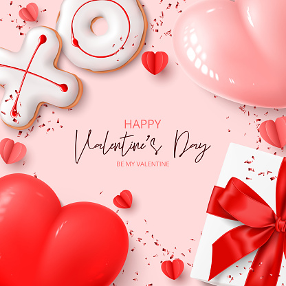 Happy Valentine's Day card Holiday background with