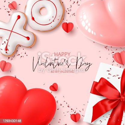 istock Happy Valentine's Day card Holiday background with 1293430148