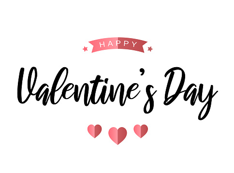 Happy Valentine's Day card on white background. Vector