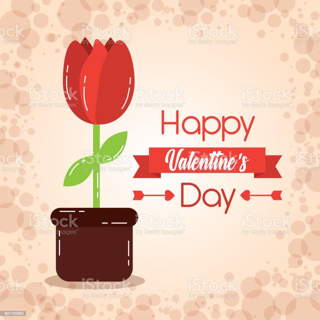 happy valentines day card potted flower decoration celebration vector art illustration