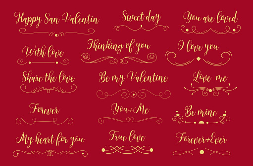 Happy Valentine's Day Card. Set Of Calligraphic Quotes. Typographic Background. Hand Lettering Text Isolated On White Background. Good For Greeting Cards, Print Design. Vector Illustration