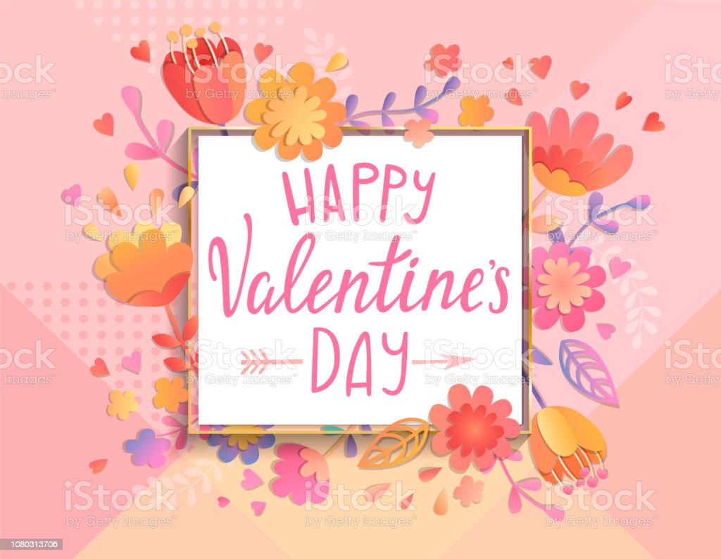 Happy Valentines Day Card Template Stock Vector Art More Images Of