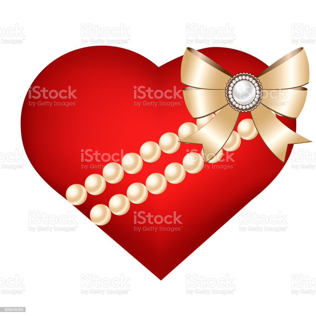 Happy Valentines Day Card With 3d Heart Bow And Pearls Stock Vector