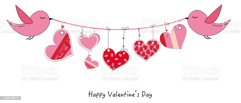 Happy Valentines Day Card With Bird Holding A Heart Ribbon Vector