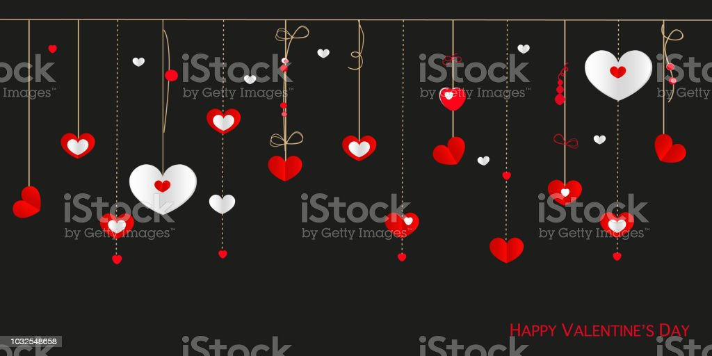 Happy Valentines Day Card With Border Design Hanging Hearts Stock
