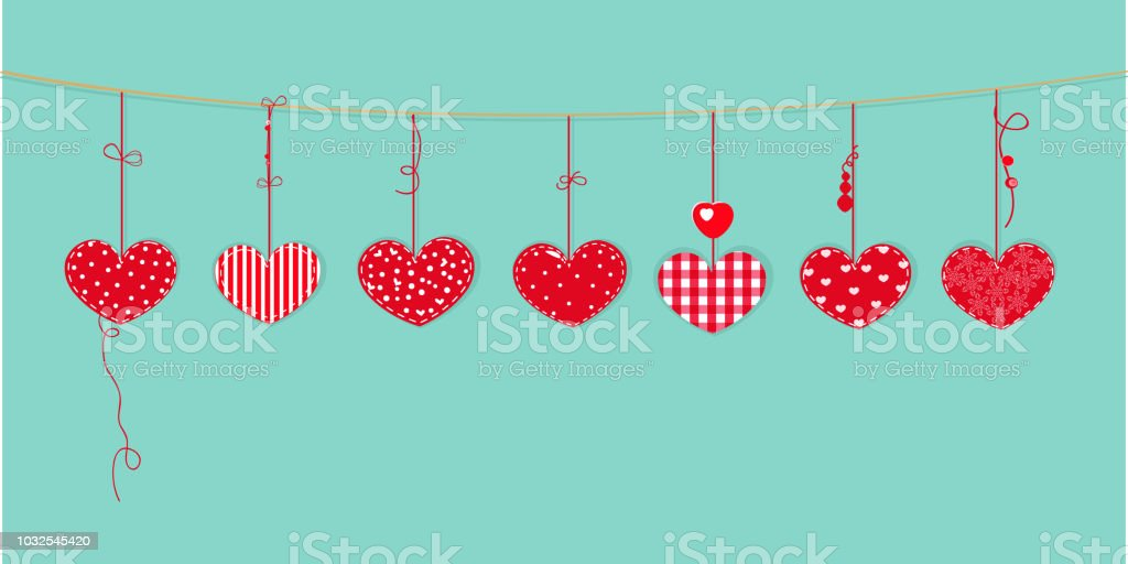 Happy Valentines Day Card With Border Design Hanging Red Hearts