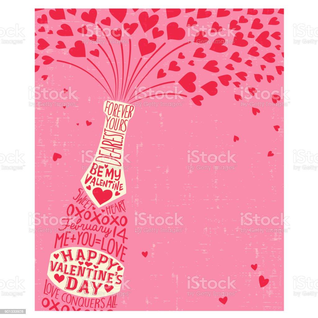 Ilustracion De Tarjeta De Feliz Dia De San Valentin Con Botella De