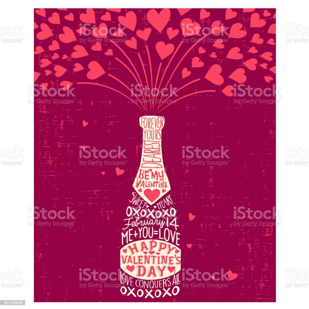 Ilustração De Cartão De Feliz Dia Dos Namorados Com Garrafa De