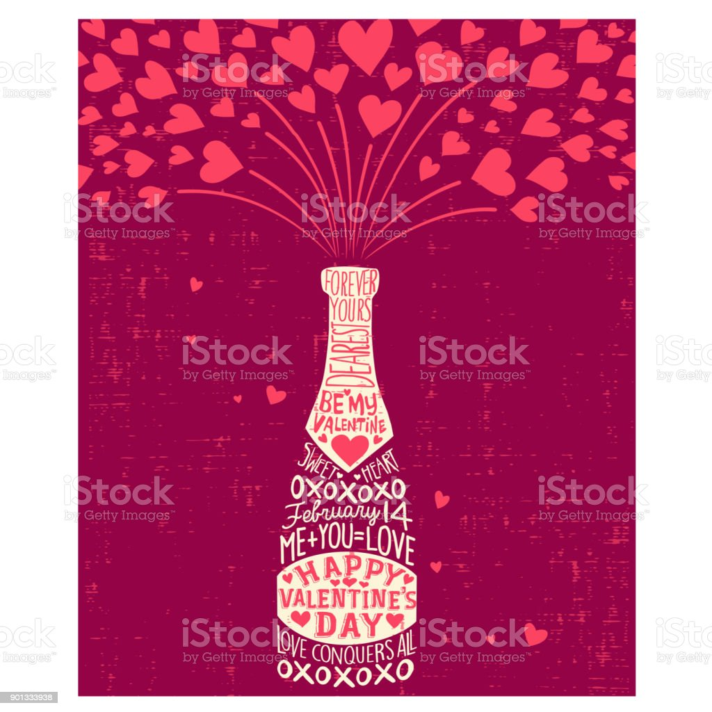 Happy Valentine's Day card with champagne bottle, hearts, and handwritten love phrases. vector art illustration