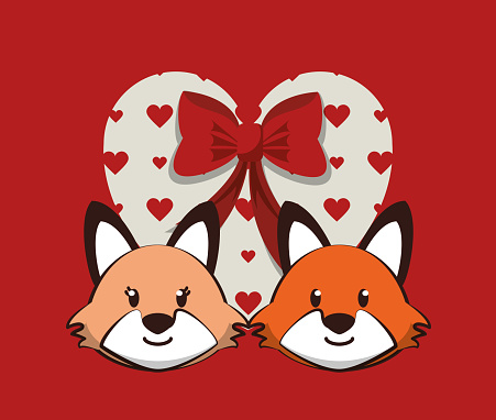 happy valentines day card with cute foxes couple