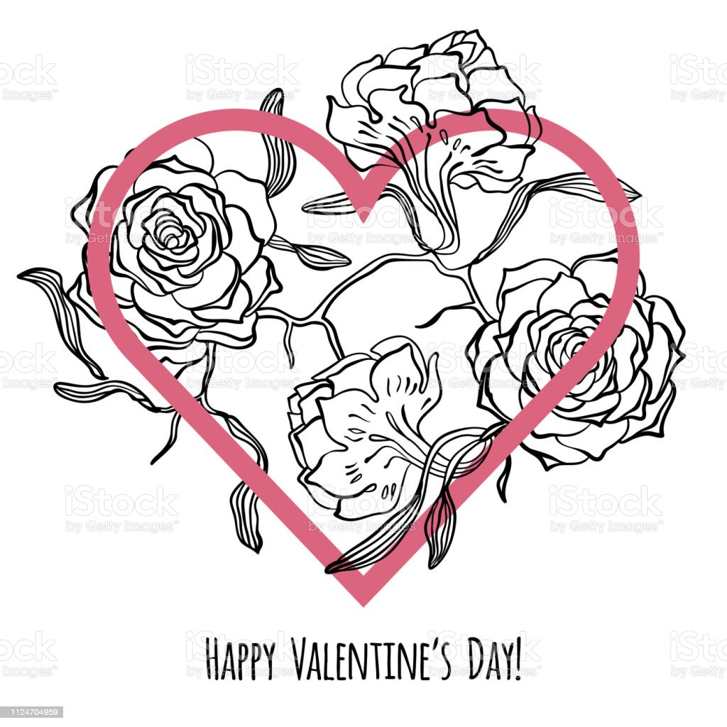 Happy Valentines Day Card With Heart And Sketches Of Roses