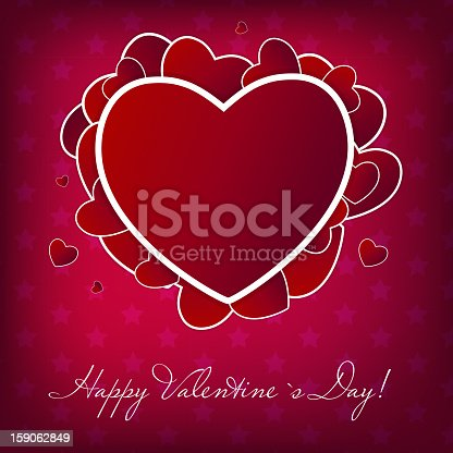 Happy Valentines Day card with heart. Vector illustration. EPS10. Contains transparent objects used for shadows drawing, glare and background. Background to give the gloss.
