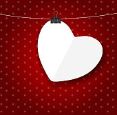 Happy Valentines Day card with heart. Vector illustration EPS10. Contains transparent objects used for shadows drawing, glare and background. Background to give the gloss.