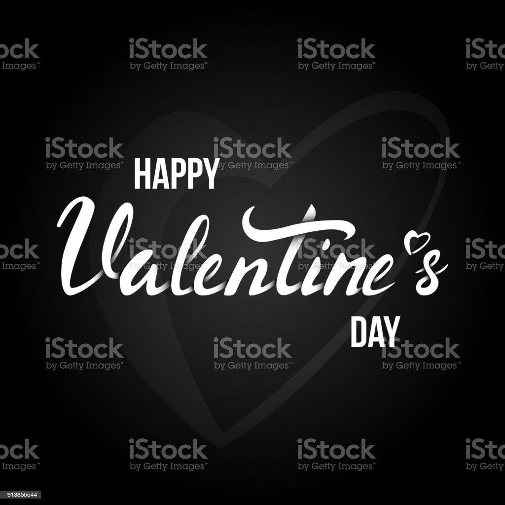 Happy Valentines Day Karte Mit Schriftzug Schwarzem Hintergrund ...