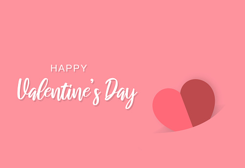 Happy Valentine's Day card with paper heart on red background. Vector
