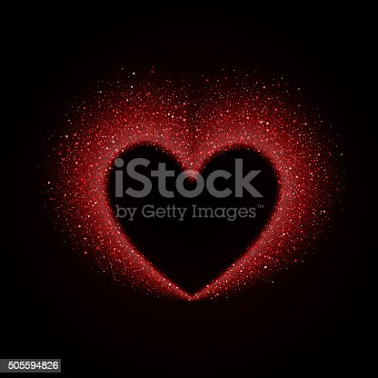 Happy Valentines Day Card with Red Glittering Star Dust Heart, Red Sparkles on Black Background