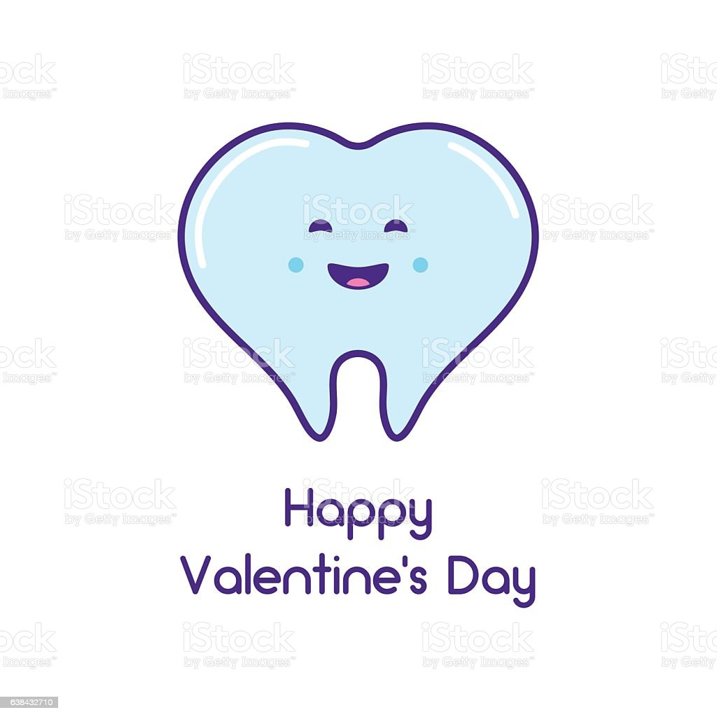 Happy Valentine's day! Card with the tooth vector art illustration