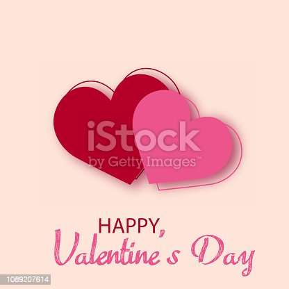 Happy Valentine's Day card with two red hearts. Vector
