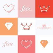 Happy Valentines day cards. Valentines day elements. Flat color vector illustration.