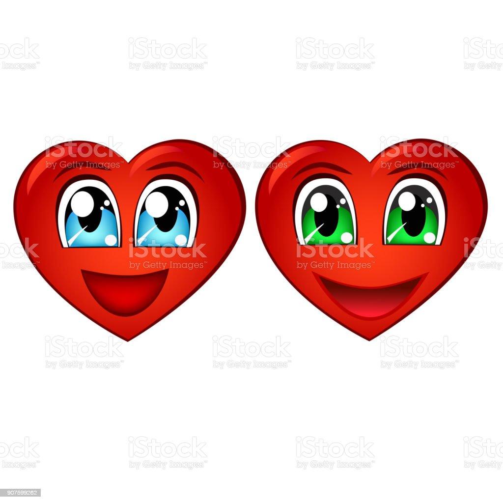 Happy Valentines Day Cartoon Heart With Anime Eyes Stock Vector Art
