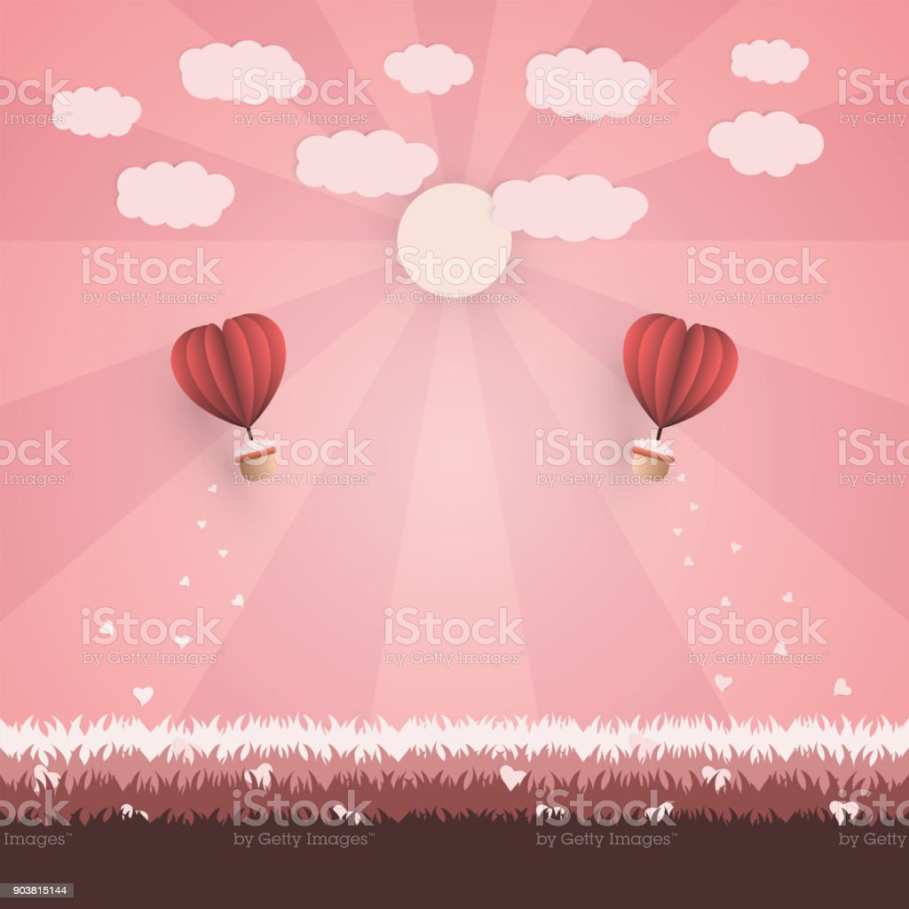 Happy valentines day concept red origami two balloons contain the red origami two balloons contain the heart and flying heart on jeuxipadfo Choice Image