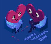 Happy valentine's day couple 3d isometric. Happy young couple in love, romantic relationship lover illustration.