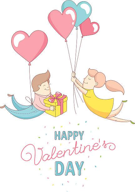 illustrations, cliparts, dessins animés et icônes de happy valentine's day couple characters flying into each other's arms - ballon anniversaire smiley