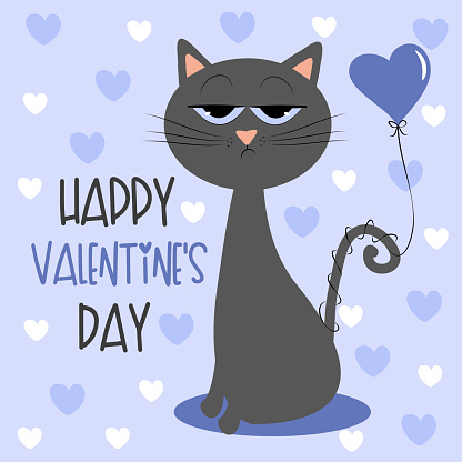 Happy Valentine's Day - cute bored cat with air ballon, and hearts
