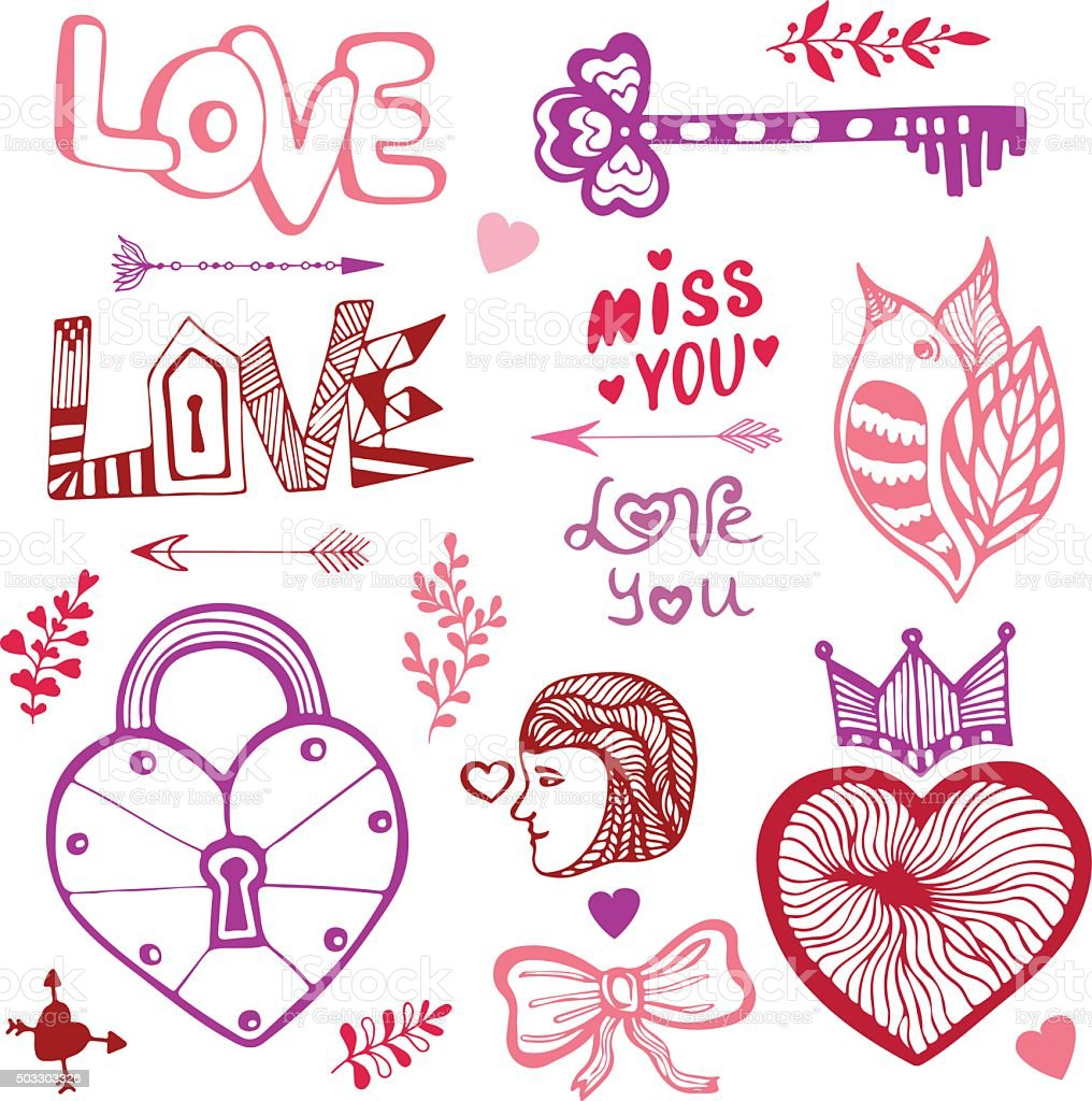 Happy Valentinstag Süße Doodle Kollektion Mit Herz Stock Vektor Art ...