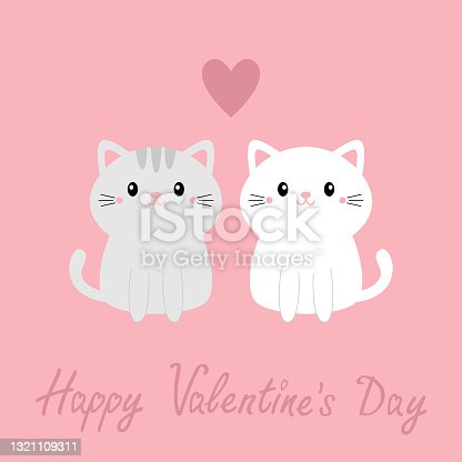 Happy Valentines Day. Cute gray white cat kitty kitten set. Big heart. Kawaii cartoon character. Smiling face, tail. Baby greeting card tshirt notebook cover print. Pink background. Flat design