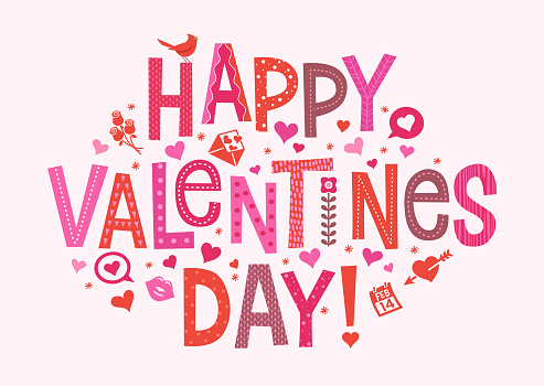 Happy Valentines Day. Cute hand drawn decorative lettering with hearts and seasonal design elements.