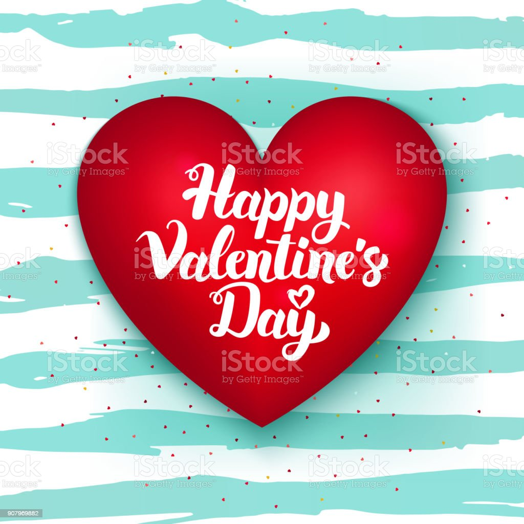 Happy Valentines Day Cute Heart Stock Vector Art More Images Of