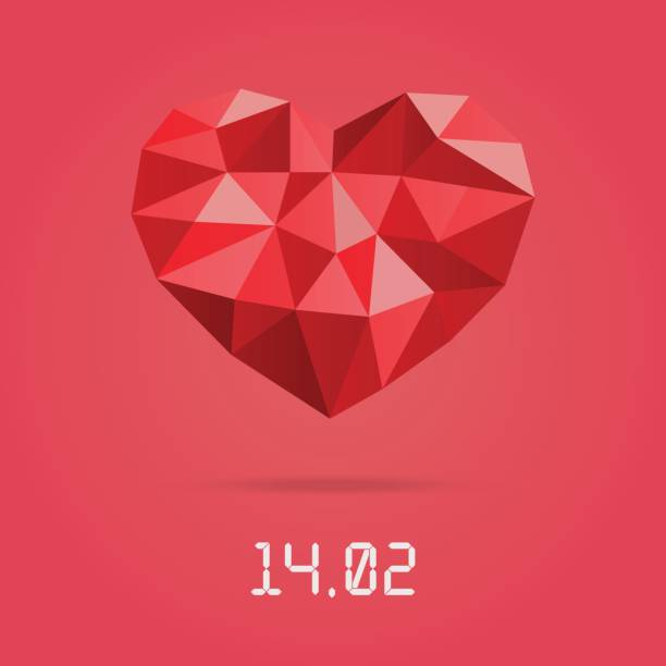 happy valentines day design template. low polygonal heart with valentines day date. - leap year stock illustrations, clip art, cartoons, & icons