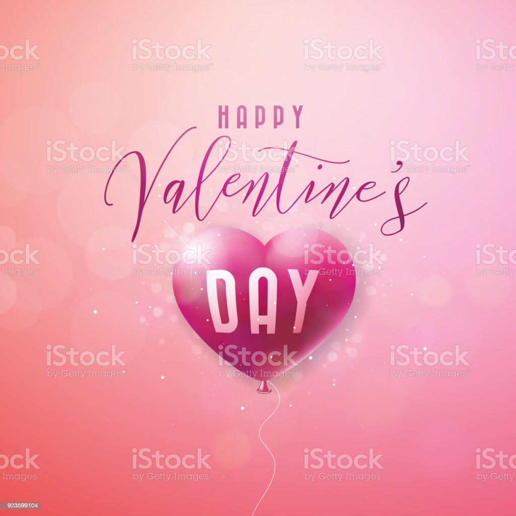 Happy valentines day design with red balloon heart and typography happy valentines day design with red balloon heart and typography letter on pink background vector stopboris Images