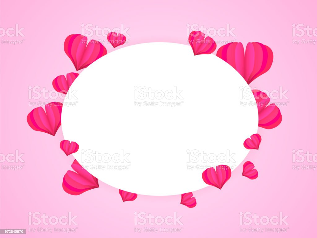 Happy Valentines Day Ellipse Frame For Text Many Paper Hearts Stock ...