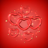 Happy Valentine's Day festive card. Vector illustration with flying red hearts with blur effect. Realistic golden symbols.