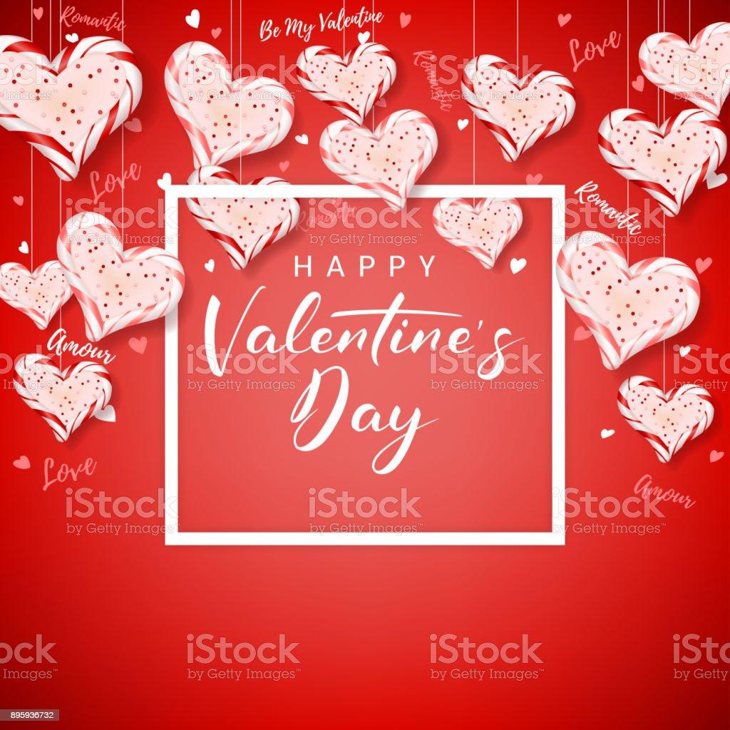 Feliz Día De Los Enamorados Tarjetas Festivas - Arte vectorial de ...